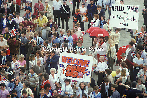 Falklands war. Queen Elizabeth QE2 arrives back from the Falklands Conflict.
