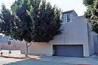 """Frank Gehry: Danziger Studio, 1965. 7001 Melrose at Sycamore. """"minimal architecture at its best"""" --now obscured by trees.  Photo '86."""