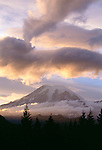 Dramatic clouds illuminated by sunset, Mt. Rainer National Park, Washington, USA