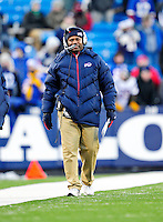 20 December 2009: The Buffalo Bills Interim Head Coach and Defensive Coordinator Perry Fewell walks the sidelines during a game against the New England Patriots at Ralph Wilson Stadium in Orchard Park, New York. The Bills defeated the Patriots 17-10. Mandatory Credit: Ed Wolfstein Photo