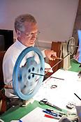 Tom Whiteside, owner of Durham Cinematheque, works in his studio on Thursday June 28th 2012.