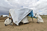 Newly arrived victims of Darfur's conflict set up a shelter in the Hassa Hissa Camp for internally displaced persons, outside Zalingei.