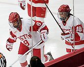 Kayla Tutino (BU - 8), Rebecca Russo (BU - 18) - The Boston University Terriers defeated the visiting Union College Dutchwomen 6-2 on Saturday, December 13, 2012, at Walter Brown Arena in Boston, Massachusetts.