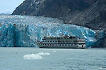 Alaska, Cruising the Southeast wilderness waterways on the Spirit of Discovery.  Endicott Arm and Dawes Glacier, scenery, glacier and cruise ship..Photo #: alaska10570 .Photo copyright Lee Foster, 510/549-2202, lee@fostertravel.com, www.fostertravel.com..
