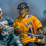 16 April 2016: University of Maryland, Baltimore County Retriever Midfielder Ryan Baker, a Freshman from Yorktown Heights, NY, in action against the University of Vermont Catamounts at Virtue Field in Burlington, Vermont. The Retrievers fell to the Catamounts 14-10 in NCAA Division I play. Mandatory Credit: Ed Wolfstein Photo *** RAW (NEF) Image File Available ***