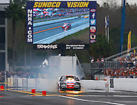 Mar 18, 2016; Gainesville, FL, USA; NHRA pro mod driver Mike Janis has an engine fire during qualifying for the Gatornationals at Auto Plus Raceway at Gainesville. Mandatory Credit: Mark J. Rebilas-USA TODAY Sports