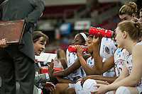 FRESNO, CA--Head Coach Tara VanDerveer addresses her team during at timeout during a 76-60 win over South Carolina at the Save Mart Center for the West Regionals semifinals of the 2012 NCAA Championships.