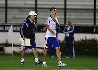 Argentina coach Alejandro Sabella and Angel Di Maria during the training session