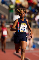 Chante Moore runs the anchor leg for West Catholic in the High School Girls' 4x400 Philadelphia Catholic on April 22 at the Penn Relays. West Catholic won the race in  3:54.84, more than 7 seconds ahead of second-place Cardinal O'Hara.