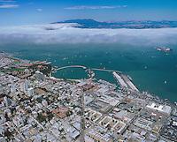 aerial photograph Columbus Avenue aquatic park North Beach neighborhood San Francisco California