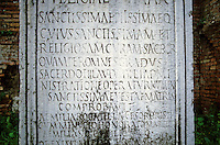 """Italy: Rome--Tablet, Temple of the Vestal Virgins. ...""""to the most holy, most pious, whose most holy and religious office I sanctify...steps of the priesthood of the most holy Vesta.""""  Aemelia Rogatilia Sororis--Sister."""