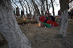 Pilgrimage of Native Wixaricas to their sacred place of Wirikuta, February 2012. The scene is at their sacred place of Tateit Matianeri in the village of Yoliath in San Luis Potosi state. Photo by Heriberto Rodriguez
