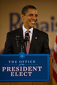 Chicago, Il - December 16, 2008 -- United States President-elect Barack Obama smiles as he announces the nomination of Chicago School Chief Arne Duncan to be his Secretary of Education at a news conference at Dodge Renaissance Academy on Chicago's West Side on Tuesday, December 16, 2008. .Credit: Ralf-Finn Hestoft - Pool via CNP