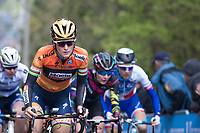Lizzie Armistad aka Elizabeth Deignan (GBR/Doels-Dolmans) prominently in front up the Mur de Huy on the 1st ascent<br /> <br /> La Fl&egrave;che Wallonne Feminine 2017 (1.WWT)<br /> One Day Race: Huy &rsaquo; Mur de Huy (120km)