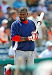 12 March 2008: Washington Nationals' infielder Cristian Guzman prepares to go on deck during a Spring Training game against the Los Angeles Dodgers at Holman Stadium, in Vero Beach, Florida. The Nationals defeated the Dodgers 10-4 at the historic Dodgertown ballpark. 2008 marks the final season of Spring Training at Dodgertown for the Dodgers, as the team will move to new training facilities in Arizona starting in 2009 after 60 years in Florida...Mandatory Photo Credit: Ed Wolfstein Photo