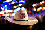 Cowboy hats and buttons are standard headgear at the Republican National Convention in downtown Tampa, Florida, August 29, 2012.