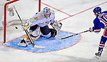 24 January 2009: Nashville Predators rookie goaltender Pekka Rinne gives up a goal to New York Rangers defenseman Marc Staal during the NHL YoungStars Game where the Rookies defeated the Sophomores 9-5 in the NHL SuperSkills Competition, part of the All-Star Weekend at the Bell Centre in Montreal, Quebec, Canada. ***** Editorial Sales Only ***** Mandatory Photo Credit: Ed Wolfstein Photo