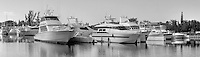 Fort Lauderdale, Florida, Water, Reflections_Panorama B_W, Motor Boating, Power Yachts,