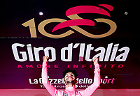 ITALIA. 07-05-2017. Fernando Gaviria -Col- (Quick-Step Floors) celebra como lider general - Malla Rosa - de la carrera despu&eacute;s de ganar la etapa 3 entre Tortoli' a Cagliari con 148 kms de la versi&oacute;n 100 del Giro de Italia hoy 07 de mayo de 2017. / Fernando Gaviria -Col- (Quick-Step Floors) celebrates as overal leader - Maglia Rosa - of the race after winning stage 3 between Tortoli 'to Cagliari with 148 kms of the 100 version of the Giro d'Italia today 07 May 2017 Photo: VizzorImage/ Spada/ LaPresse<br /> VizzorImage PROVIDES THE ACCESS TO THIS PHOTOGRAPH ONLY AS A PRESS AND EDITORIAL SERVICE AND NOT IS THE OWNER OF COPYRIGHT; ANOTHER USE HAVE ADDITIONAL PERMITS AND IS  REPONSABILITY OF THE END USER
