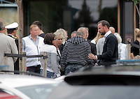 (Oslo July 23, 2011) Crown Prince Haakon meets relatives and survivors, near Ut&oslash;ya.<br />