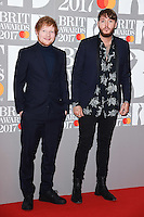Ed Sheeran &amp; James Arthur at the 2017 Brit Awards at the O2 Arena in London, UK. <br /> 22 February  2017<br /> Picture: Steve Vas/Featureflash/SilverHub 0208 004 5359 sales@silverhubmedia.com