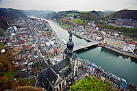 View of the River Meuse as it bisects the city of Dinant in the Walloon region of Belgium.