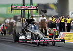 May 19, 2012; Topeka, KS, USA: NHRA top fuel dragster driver Steve Torrence during qualifying for the Summer Nationals at Heartland Park Topeka. Mandatory Credit: Mark J. Rebilas-