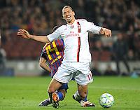 FUSSBALL  CHAMPIONS LEAGUE  VIERTELFINAL RUECKSPIEL   2011/2012      FC Barcelona - AC Mailand           03.04.2012 Zlatan Ibrahimovic (AC Mailand)