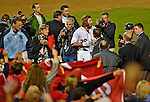 11 October 2012: Washington Nationals outfielder Jayson Werth is surrounded by media after hitting his game winning, walk-off, solo home run in the 9th inning of Postseason Playoff Game 4 of the National League Divisional Series against the St. Louis Cardinals at Nationals Park in Washington, DC. The Nationals defeated the Cardinals 2-1 tying the Series at 2 games apiece. Mandatory Credit: Ed Wolfstein Photo