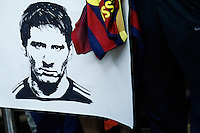A sketch of Argentina soccer player Lionel Messi is seen while fans wait the arrival of Argentina soccer team in New Jersey. 03.30.2015. Eduardo MunozAlvarez / VIEWpress.