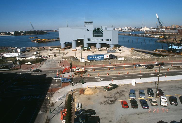 1994 February 28..Redevelopment.Downtown West (A-1-6)..NAUTICUS.CONSTRUCTION PROGRESS.FROM WORLD TRADE CENTER PARKING LOT....NEG#.NRHA#..