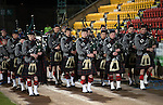 St Johnstone v Partick Thistle&hellip;02.03.16  SPFL McDiarmid Park, Perth<br />The Pipes and Drums from Glenalmond College entertain the crowd<br />Picture by Graeme Hart.<br />Copyright Perthshire Picture Agency<br />Tel: 01738 623350  Mobile: 07990 594431