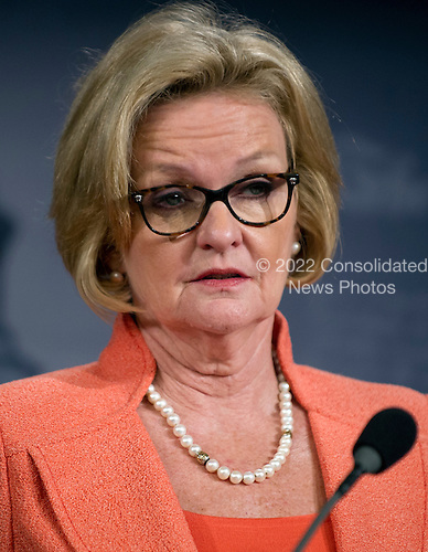 United States Senator Claire McCaskill (Democrat of Missouri) holds a press conference in the U.S. Capitol on the wartime contracting legislation she is sponsoring with U.S. Senator Jim Webb (Democrat of Virginia).  The legislation is intended to reform contracting practices during overseas military operations, institute contractor accountability and requiring greater transparency, competition, and workforce education..Credit: Ron Sachs / CNP