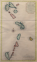 Map of the French Antilles, based on documents of Mr Petit, Engineer to the King, and  observations of Guillaume De Pifle of the Academy of Sciences and First Geographer to the King, July 1717, in the Musee d'Aquitaine, Cours Pasteur, Bordeaux, Aquitaine, France. Picture by Manuel Cohen