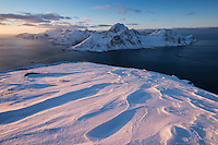 Snow covered summit of Offerøykammen in winter, Vestvågøy, Lofoten Islands, Norway