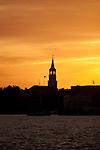 St Michaels church steeple sunset charleston south carolina
