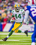 14 December 2014: Green Bay Packers running back James Starks takes a short pass and rushes for a 10-yard gain and a first down in the second quarter against the Buffalo Bills at Ralph Wilson Stadium in Orchard Park, NY. The Bills defeated the Packers 21-13, snapping the Packers' 5-game winning streak and keeping the Bills' 2014 playoff hopes alive. Mandatory Credit: Ed Wolfstein Photo *** RAW (NEF) Image File Available ***