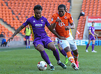 Blackpool's Nathan Delfouneso battles with Cheltenham Town's Jordan Cranston<br /> <br /> Photographer Alex Dodd/CameraSport<br /> <br /> The EFL Sky Bet League Two - Blackpool v Cheltenham Town - Saturday 22nd April 2017 - Bloomfield Road - Blackpool<br /> <br /> World Copyright &copy; 2017 CameraSport. All rights reserved. 43 Linden Ave. Countesthorpe. Leicester. England. LE8 5PG - Tel: +44 (0) 116 277 4147 - admin@camerasport.com - www.camerasport.com