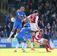 Gillingham's Zesh Rehman and Fleetwood Town's Conor McLaughlin challenge for the ball<br /> <br /> Photographer Rob Newell/CameraSport<br /> <br /> The EFL Sky Bet League One - Gillingham v Fleetwood Town - Saturday 22nd April 2017 - MEMS Priestfield Stadium - Gillingham<br /> <br /> World Copyright &not;&copy; 2017 CameraSport. All rights reserved. 43 Linden Ave. Countesthorpe. Leicester. England. LE8 5PG - Tel: +44 (0) 116 277 4147 - admin@camerasport.com - www.camerasport.com