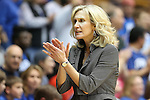 11 February 2013: Maryland assistant Tina Langley coaches the end of the game after head coach Brenda Frese (not pictured) had been ejected. The Duke University Blue Devils played the University of Maryland Terrapins at Cameron Indoor Stadium in Durham, North Carolina in an NCAA Division I Women's Basketball game. Duke won the game 71-56.