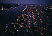 Riverside Park and the Hudson River aerial in late evening.