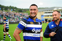 Leroy Houston of Bath Rugby is all smiles after the match. Aviva Premiership match, between Bath Rugby and Worcester Warriors on September 17, 2016 at the Recreation Ground in Bath, England. Photo by: Patrick Khachfe / Onside Images