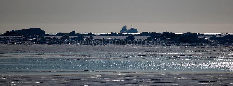 Fata Morgana, or superior mirage off the coast of Arctic Greenland