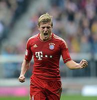 FUSSBALL   1. BUNDESLIGA  SAISON 2012/2013   2. Spieltag  02.09.2012 FC Bayern Muenchen - VfB Stuttgart       JUBEL FC  Bayern; Torschuetze Toni Kroos nach seinem Tor zum 2-1