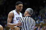 08 November 2014: Duke's Jahlil Okafor (left) talks with referee Tim Nestor (right). The Duke University Blue Devils hosted the University of Central Missouri Mules at Cameron Indoor Stadium in Durham, North Carolina in an NCAA Men's Basketball exhibition game. Duke won the game 87-47.