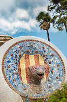 The four bars (National Catalonian Coat of Arms) and serpent head, Park Güell, Barcelona, Catalonia, Spain, 1900 - 1914, built by architect Antoní Gaudi (Reus 1852, Barcelona 1926). Picture by Manuel Cohen