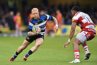 Tom Homer of Bath Rugby in possession. Aviva Premiership match, between Bath Rugby and Gloucester Rugby on April 30, 2017 at the Recreation Ground in Bath, England. Photo by: Patrick Khachfe / Onside Images