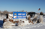 Entrance sign at the Malheur National Wildlife Reserve was changed to Harney Ciunty Research Center on January 15, 2016 in Burns, Oregon.  Ammon Bundy and about 20 other protesters took over the refuge on Jan. 2 after a rally to support the imprisoned local ranchers Dwight Hammond Jr., and his son, Steven Hammond.      ©2016. Jim Bryant Photo. All Rights Reserved.