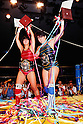 (L-R) Chigusa Nagayo, Lioness Aska, AUGUST 25, 1984 - Pro Wrestling : Chigusa Nagayo and Lioness Aska celebrate with their WWWA World Tag Team Championship belts during the All Japan Women's Pro-Wrestling event at Korakuen Hall in Tokyo, Japan. (Photo by Yukio Hiraku/AFLO)