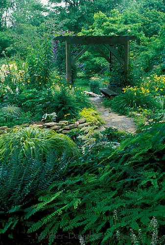 English garden path through backyard wooden arbor with bench atf private home, Midwest USA